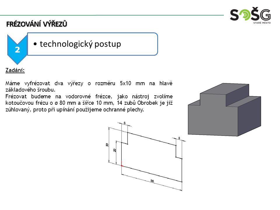 technologický postup FRÉZOVÁNÍ výřezů 2 Zadání:
