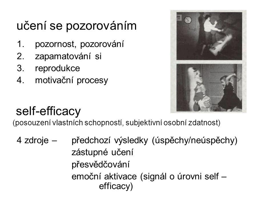 učení se pozorováním pozornost, pozorování. zapamatování si. reprodukce. motivační procesy. 4 zdroje – předchozí výsledky (úspěchy/neúspěchy)