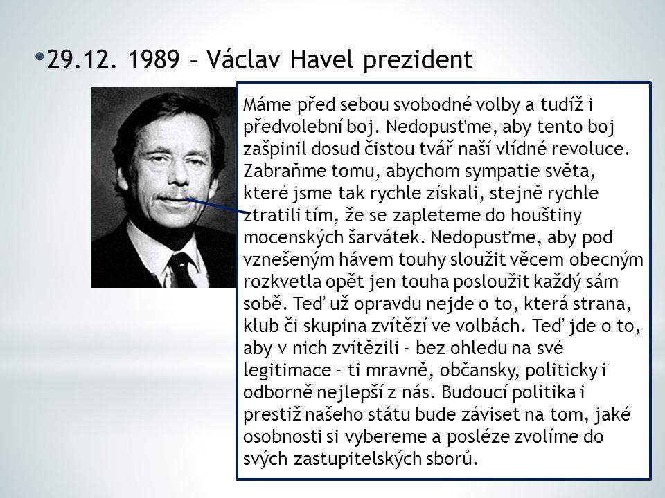 29.12. 1989 – Václav Havel prezident