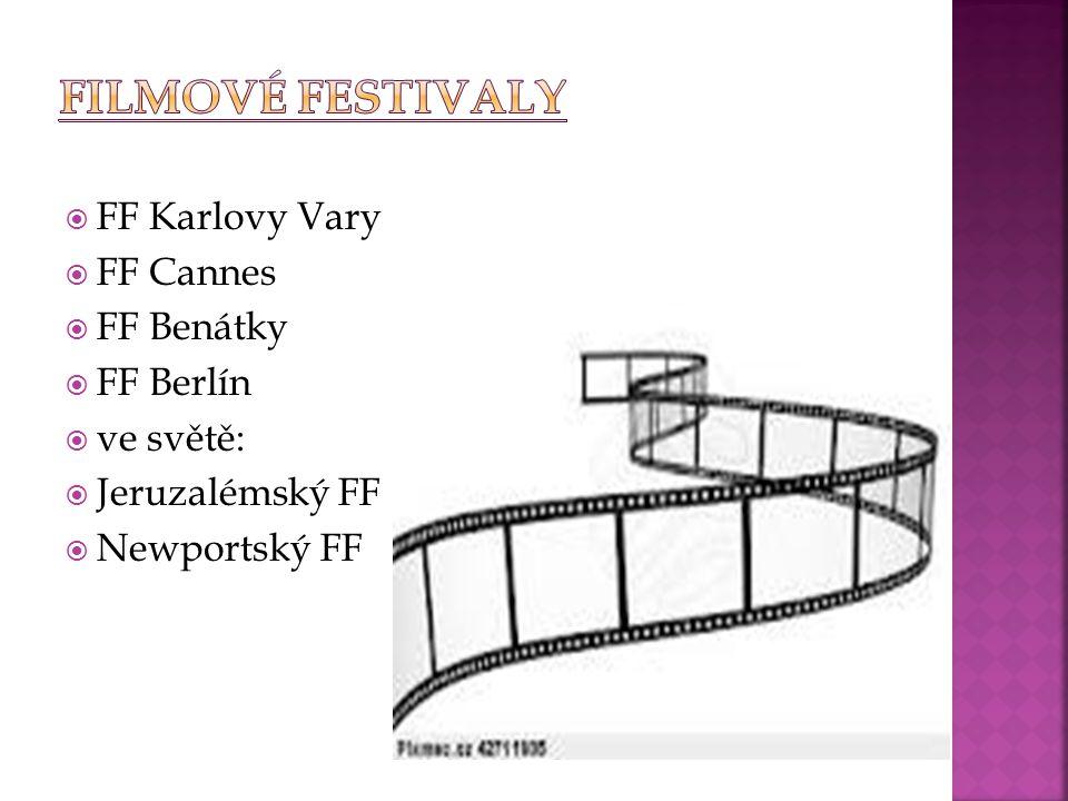 Filmové festivaly FF Karlovy Vary FF Cannes FF Benátky FF Berlín