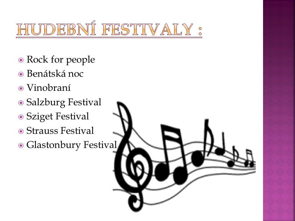 Hudební festivaly : Rock for people Benátská noc Vinobraní