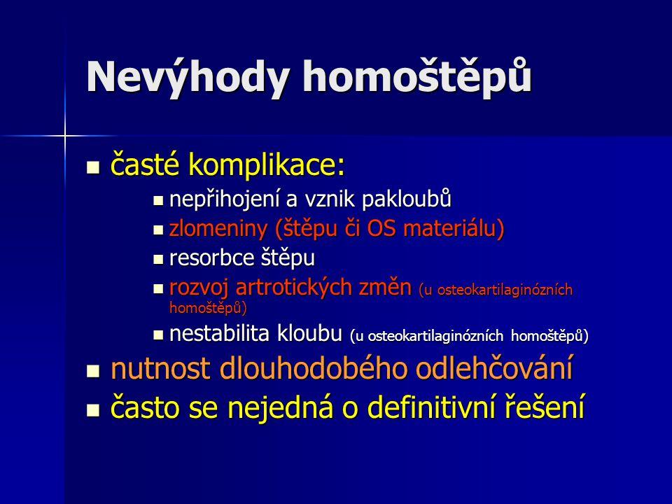 Nevýhody homoštěpů časté komplikace: nutnost dlouhodobého odlehčování