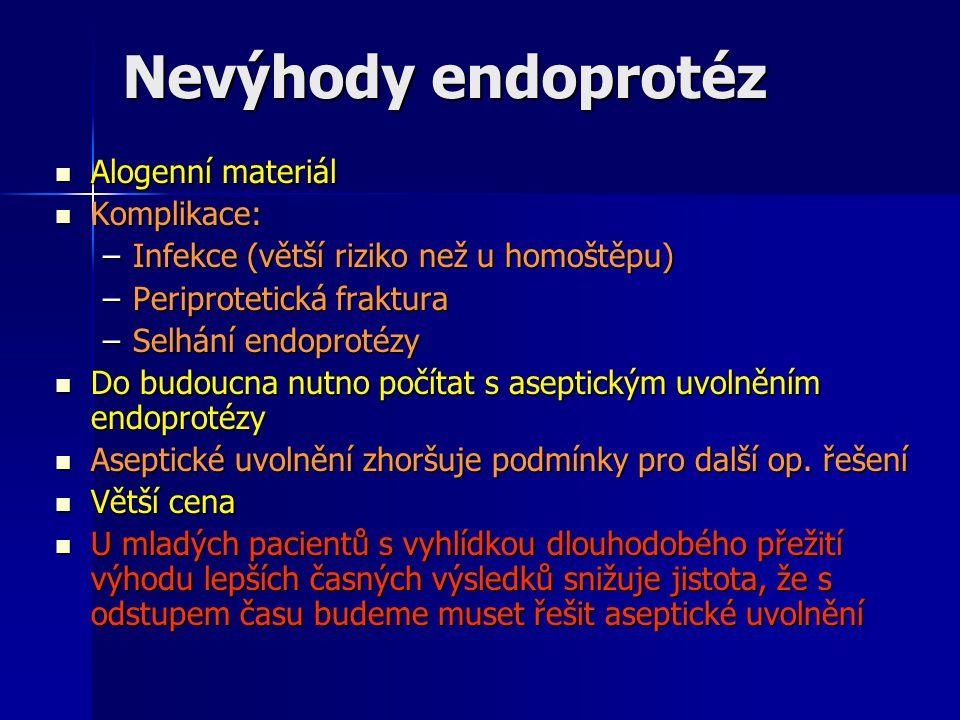 Nevýhody endoprotéz Alogenní materiál Komplikace: