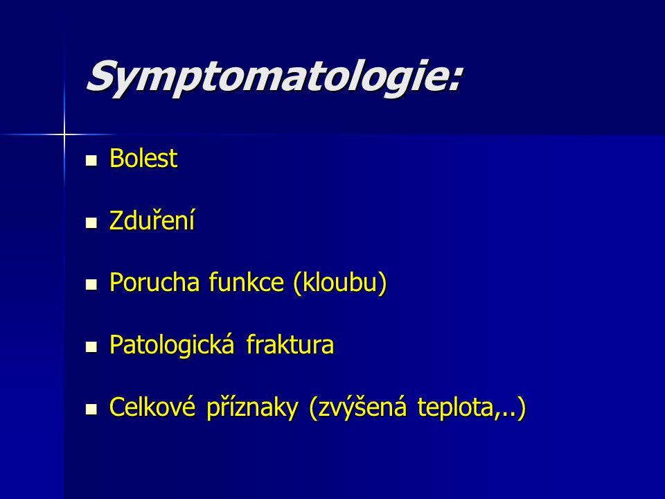 Symptomatologie: Bolest Zduření Porucha funkce (kloubu)