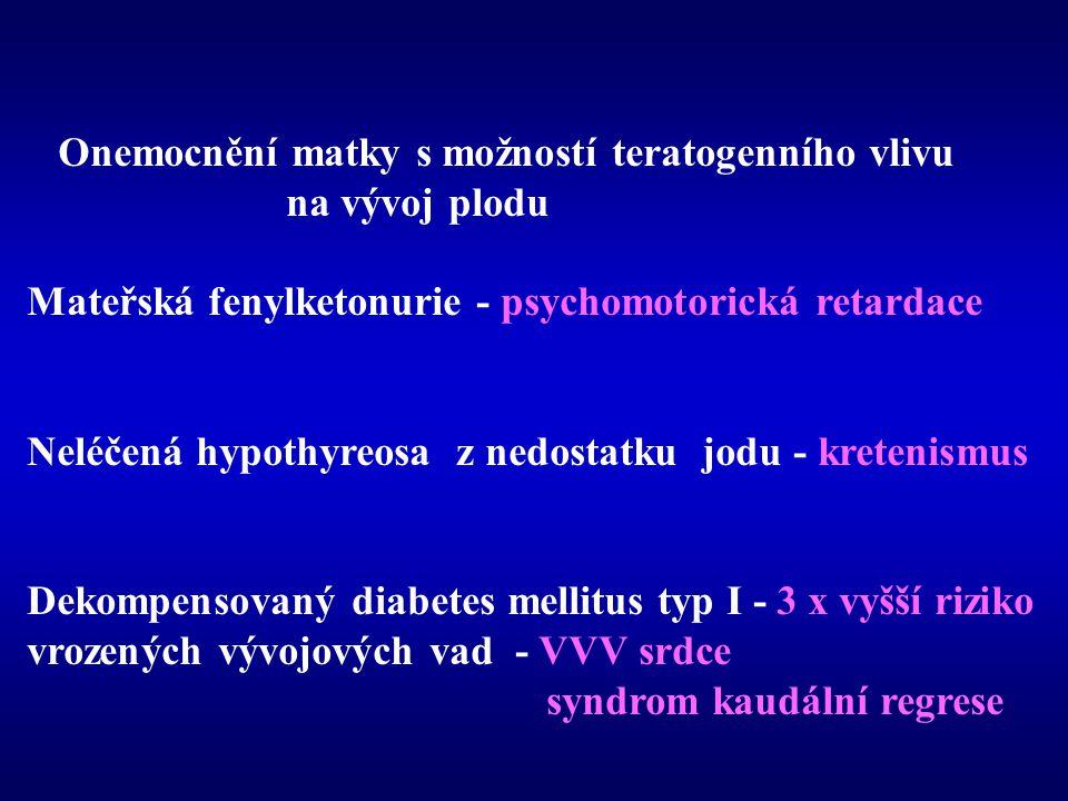 Onemocnění matky s možností teratogenního vlivu