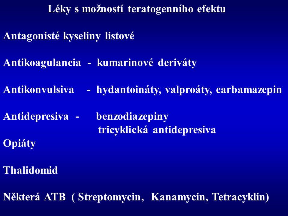 Léky s možností teratogenního efektu