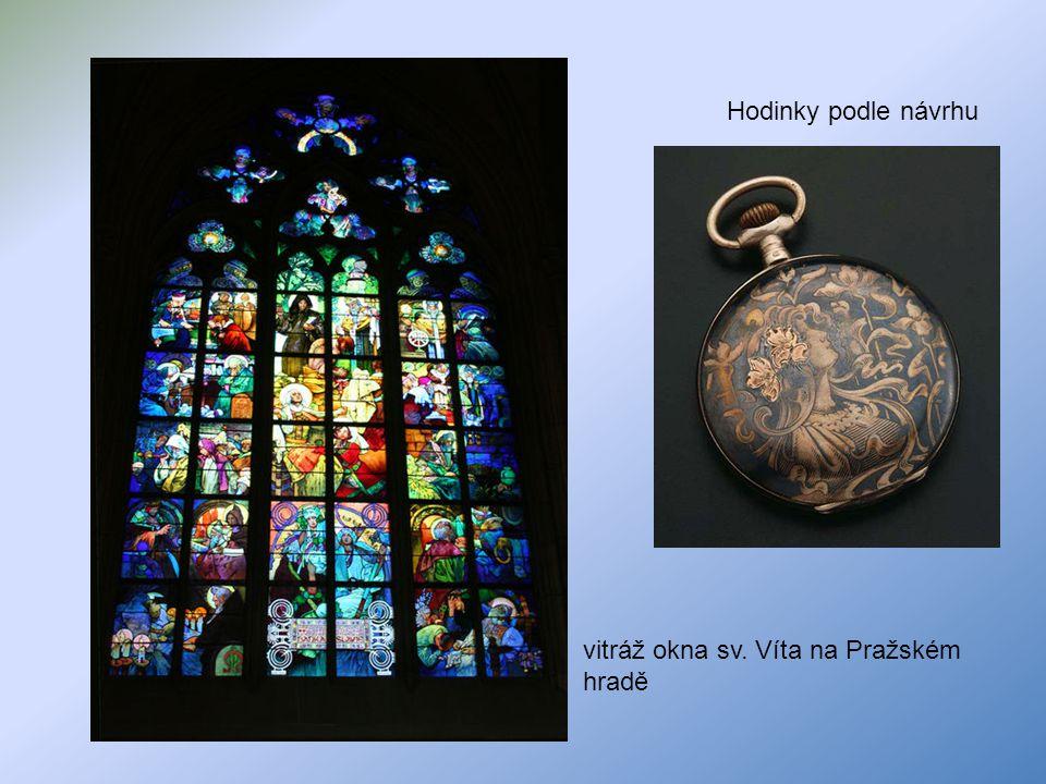 Hodinky podle návrhu vitráž okna sv. Víta na Pražském hradě