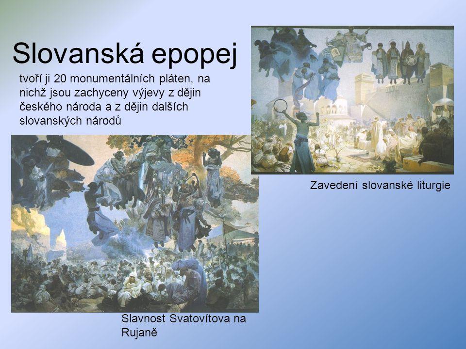 Slovanská epopej tvoří ji 20 monumentálních pláten, na nichž jsou zachyceny výjevy z dějin českého národa a z dějin dalších slovanských národů.