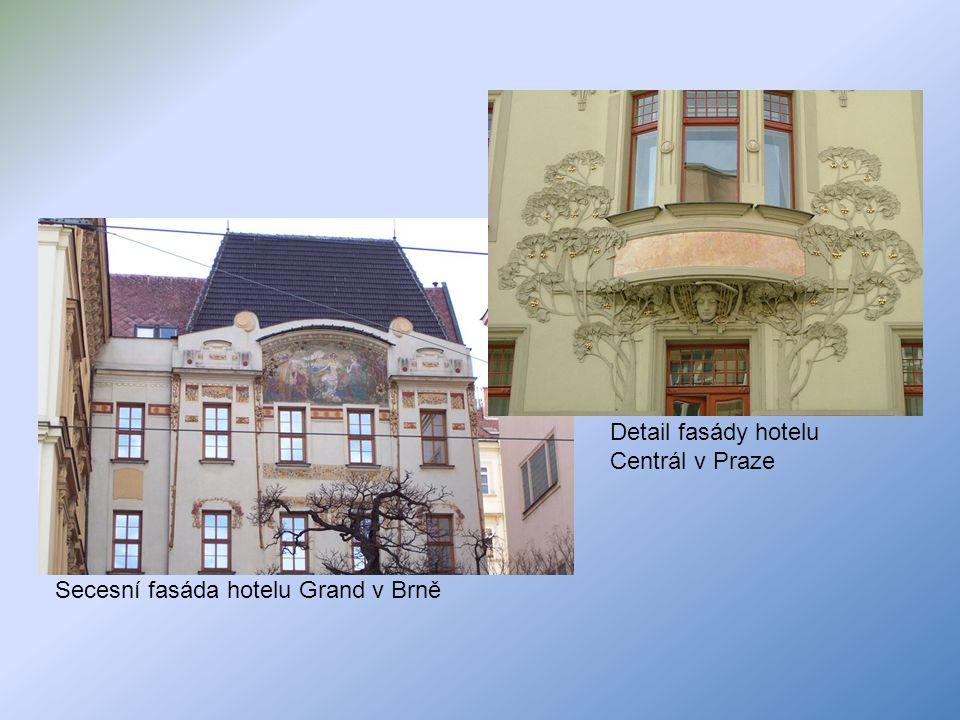 Detail fasády hotelu Centrál v Praze