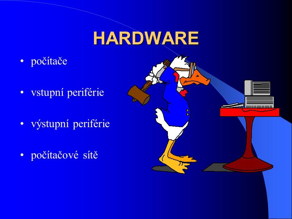 HARDWARE počítače vstupní periférie výstupní periférie počítačové sítě