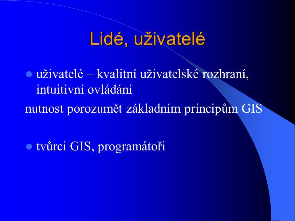 Lidé, uživatelé uživatelé – kvalitní uživatelské rozhraní, intuitivní ovládání. nutnost porozumět základním principům GIS.