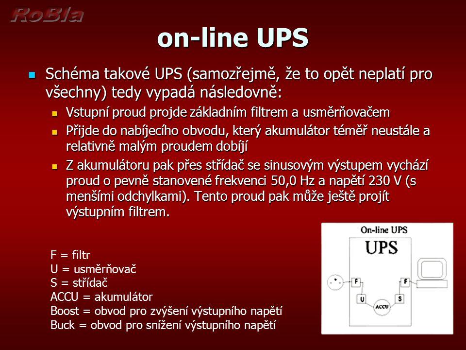 on-line UPS Schéma takové UPS (samozřejmě, že to opět neplatí pro všechny) tedy vypadá následovně: