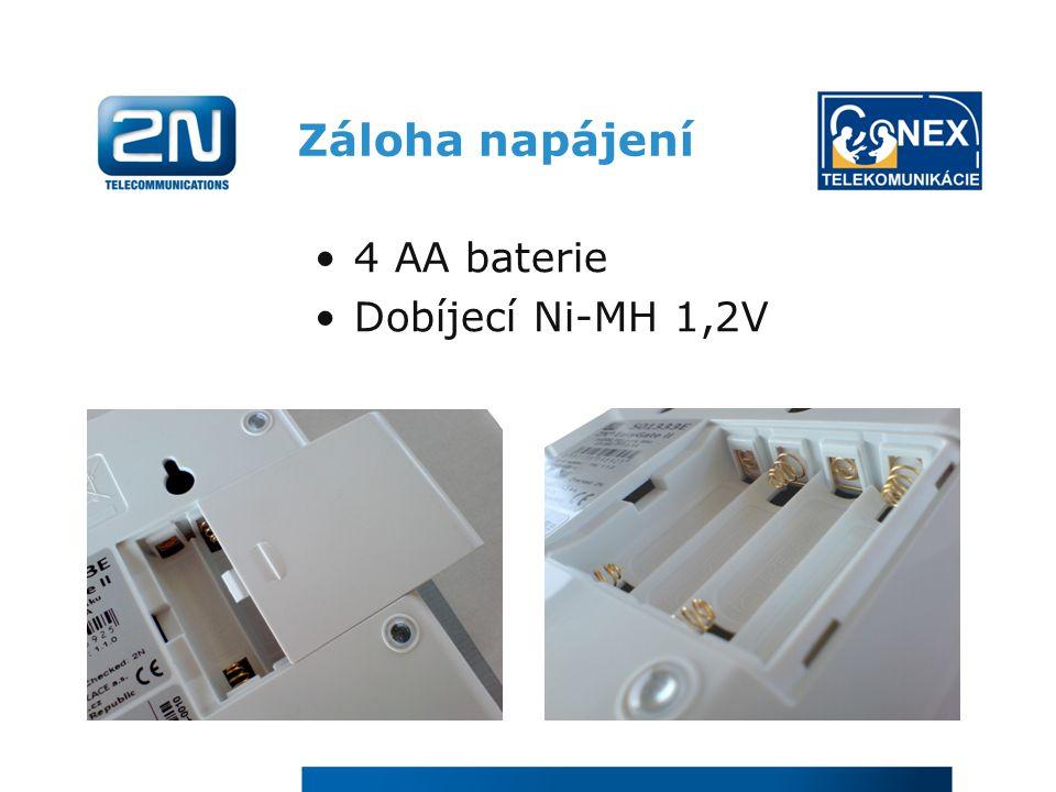 Záloha napájení 4 AA baterie Dobíjecí Ni-MH 1,2V