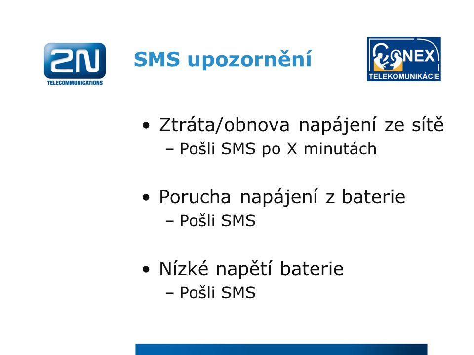 SMS upozornění Ztráta/obnova napájení ze sítě