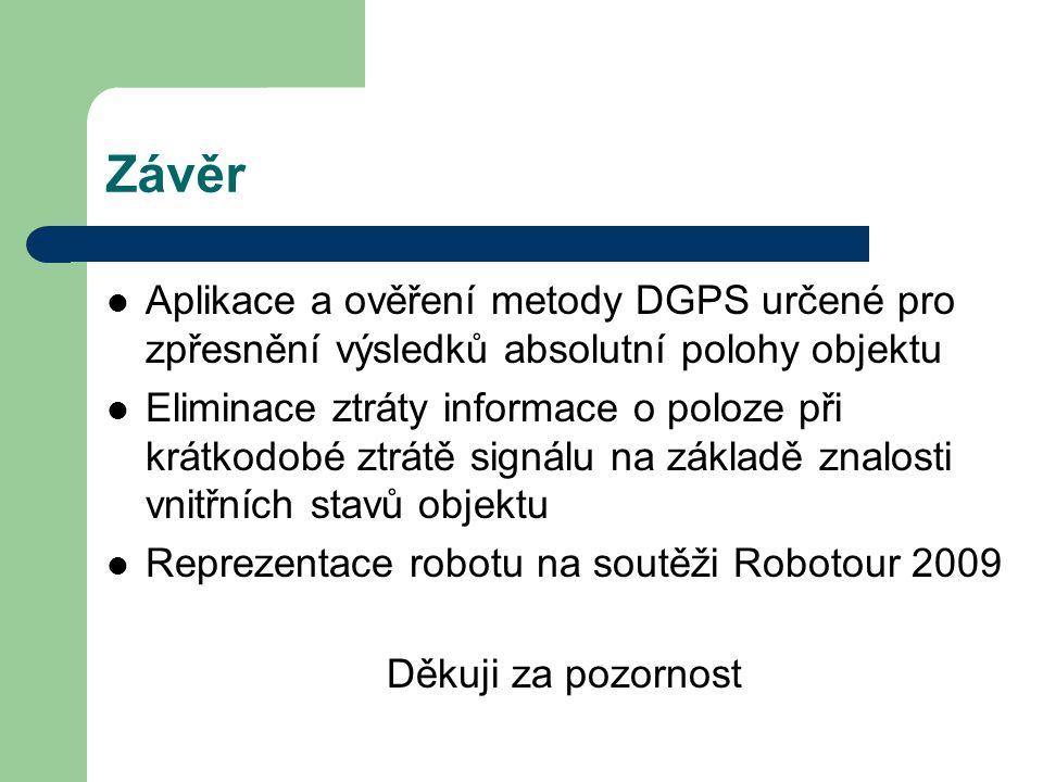 Závěr Aplikace a ověření metody DGPS určené pro zpřesnění výsledků absolutní polohy objektu.