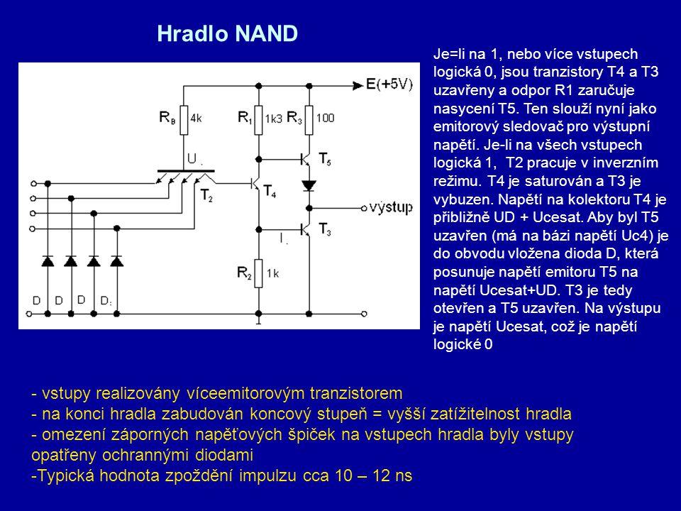 Hradlo NAND - vstupy realizovány víceemitorovým tranzistorem