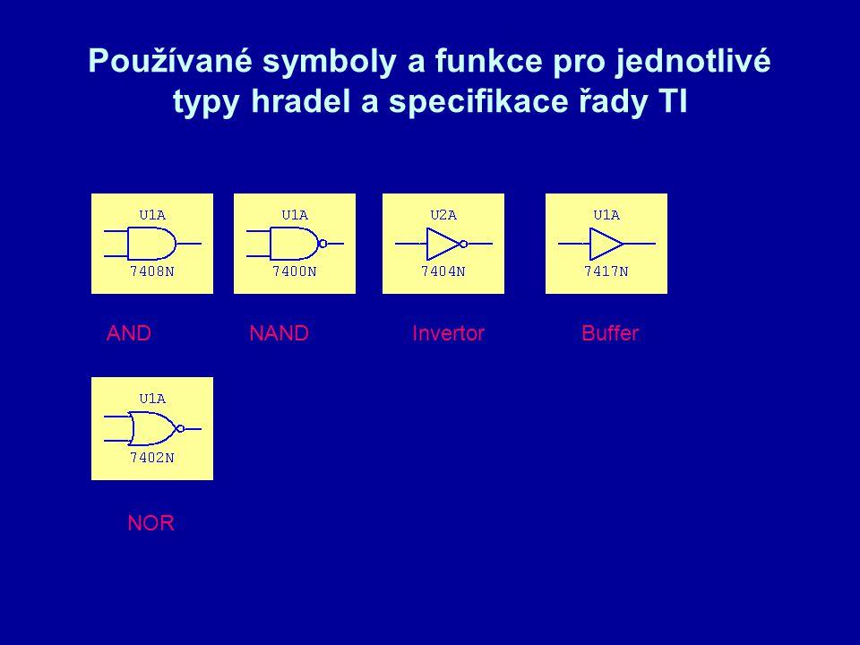 Používané symboly a funkce pro jednotlivé typy hradel a specifikace řady TI