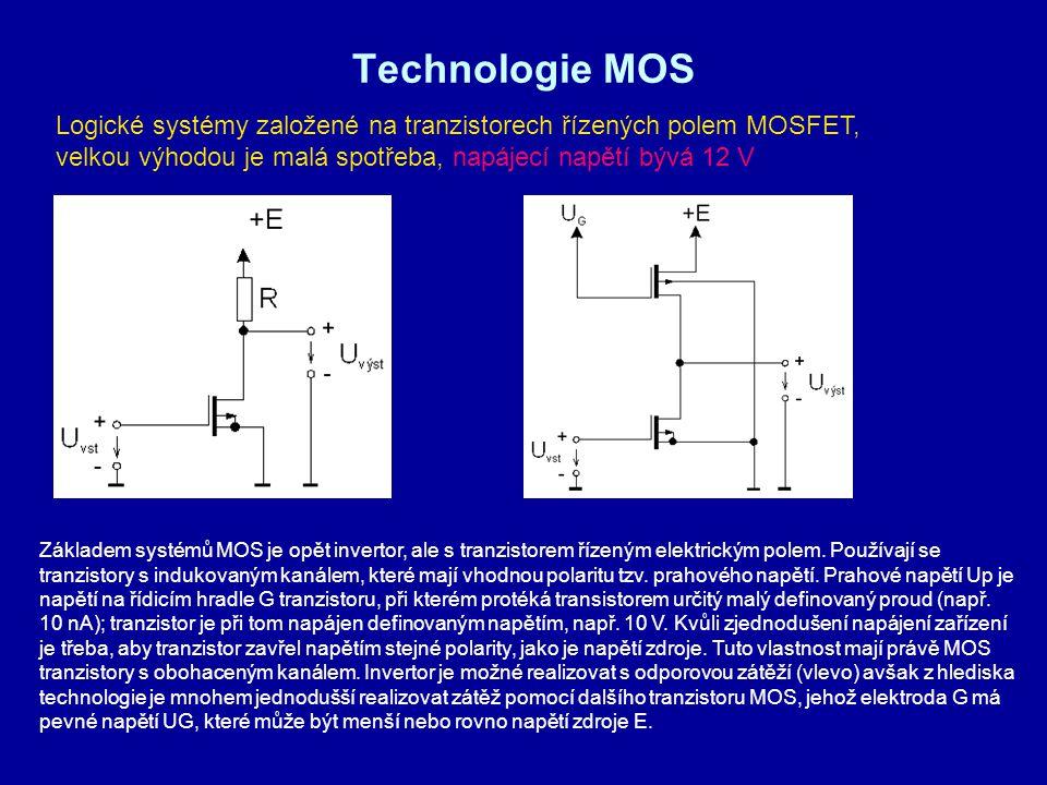 Technologie MOS Logické systémy založené na tranzistorech řízených polem MOSFET, velkou výhodou je malá spotřeba, napájecí napětí bývá 12 V.