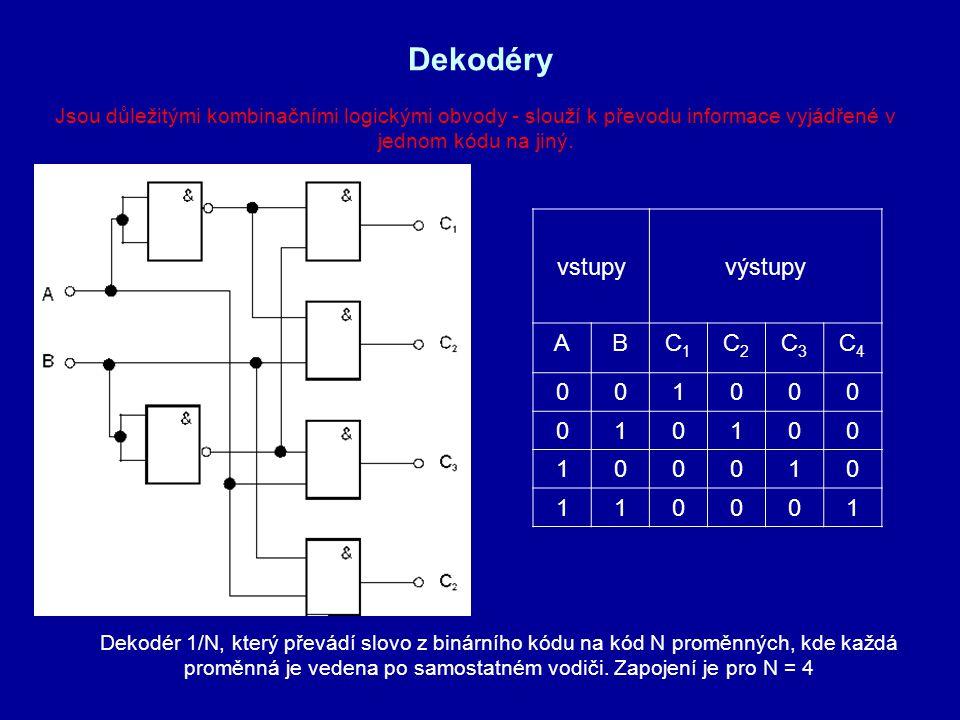 Dekodéry vstupy výstupy A B C1 C2 C3 C4 1