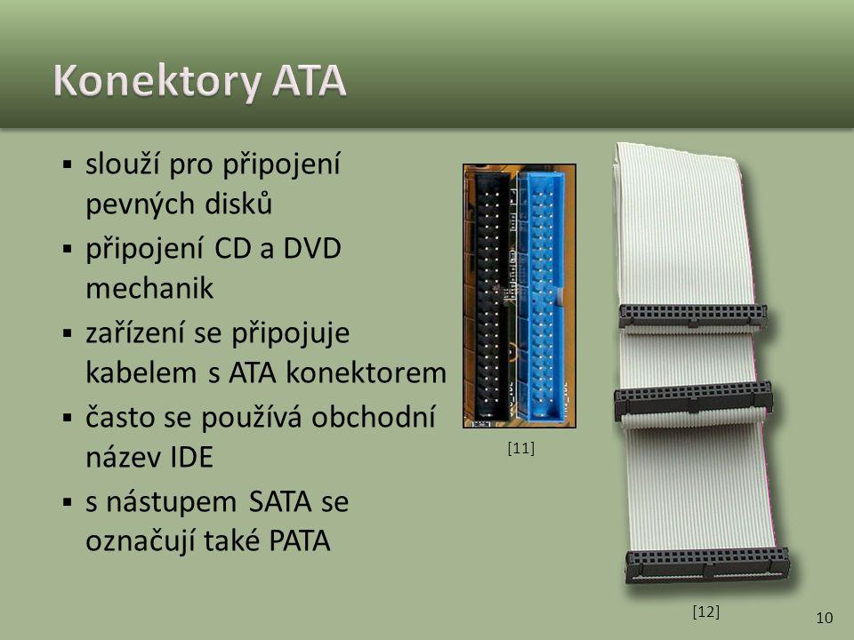 Konektory ATA slouží pro připojení pevných disků