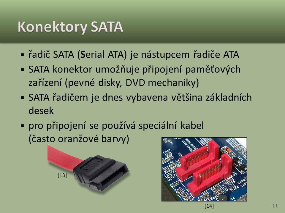 Konektory SATA řadič SATA (Serial ATA) je nástupcem řadiče ATA