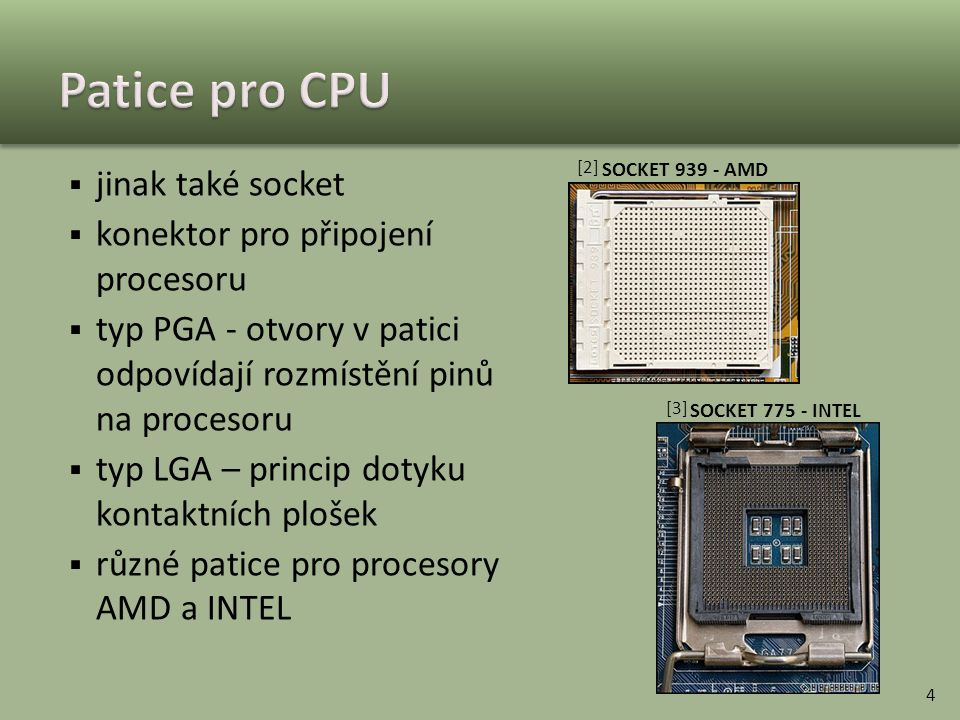 Patice pro CPU jinak také socket konektor pro připojení procesoru