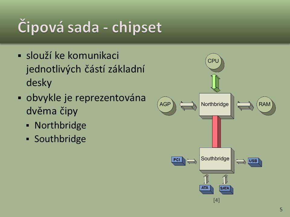 Čipová sada - chipset slouží ke komunikaci jednotlivých částí základní desky. obvykle je reprezentována dvěma čipy.
