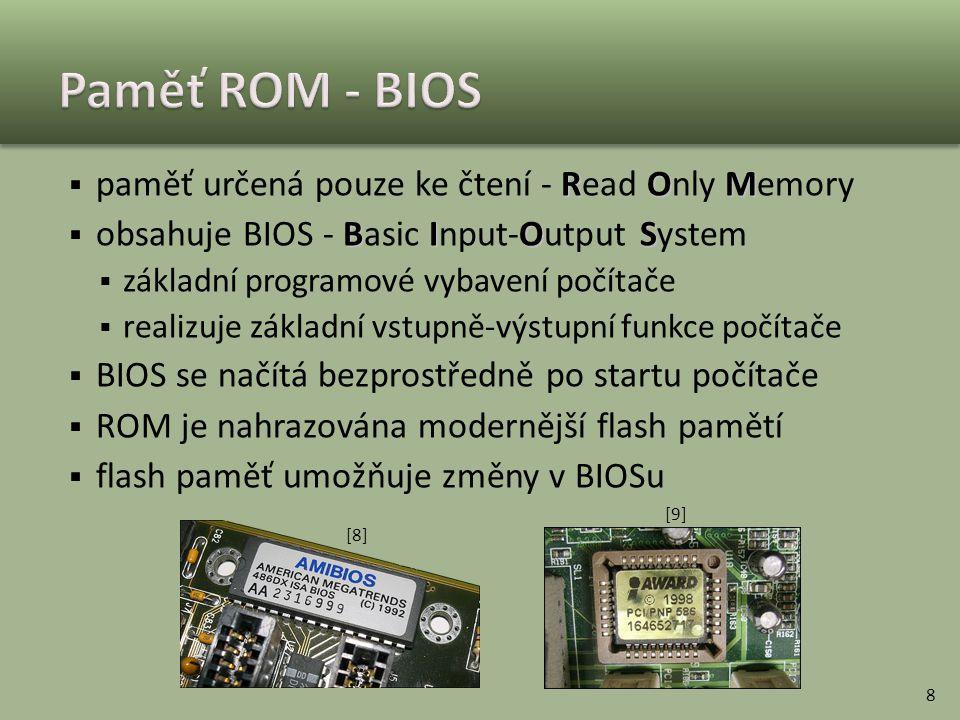Paměť ROM - BIOS paměť určená pouze ke čtení - Read Only Memory