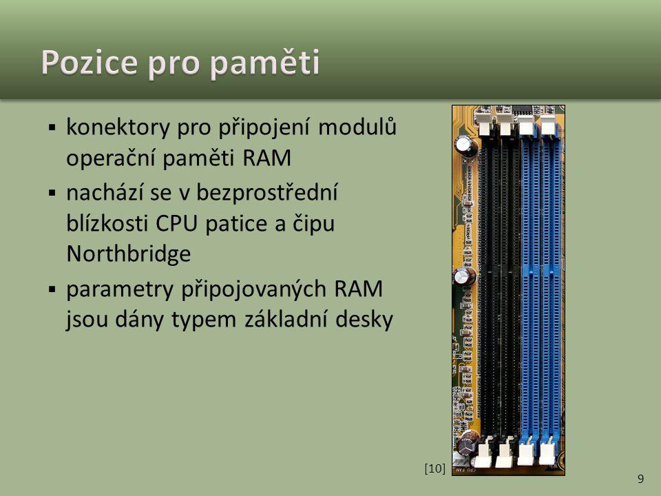 Pozice pro paměti konektory pro připojení modulů operační paměti RAM