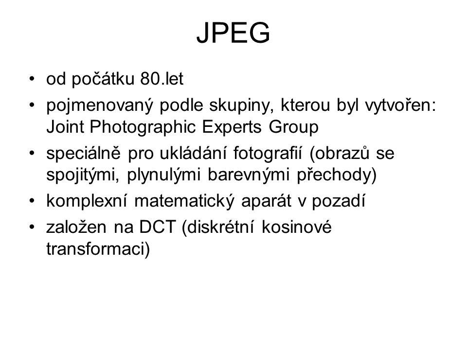 JPEG od počátku 80.let. pojmenovaný podle skupiny, kterou byl vytvořen: Joint Photographic Experts Group.