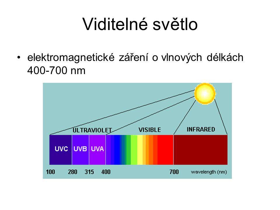 Viditelné světlo elektromagnetické záření o vlnových délkách 400-700 nm