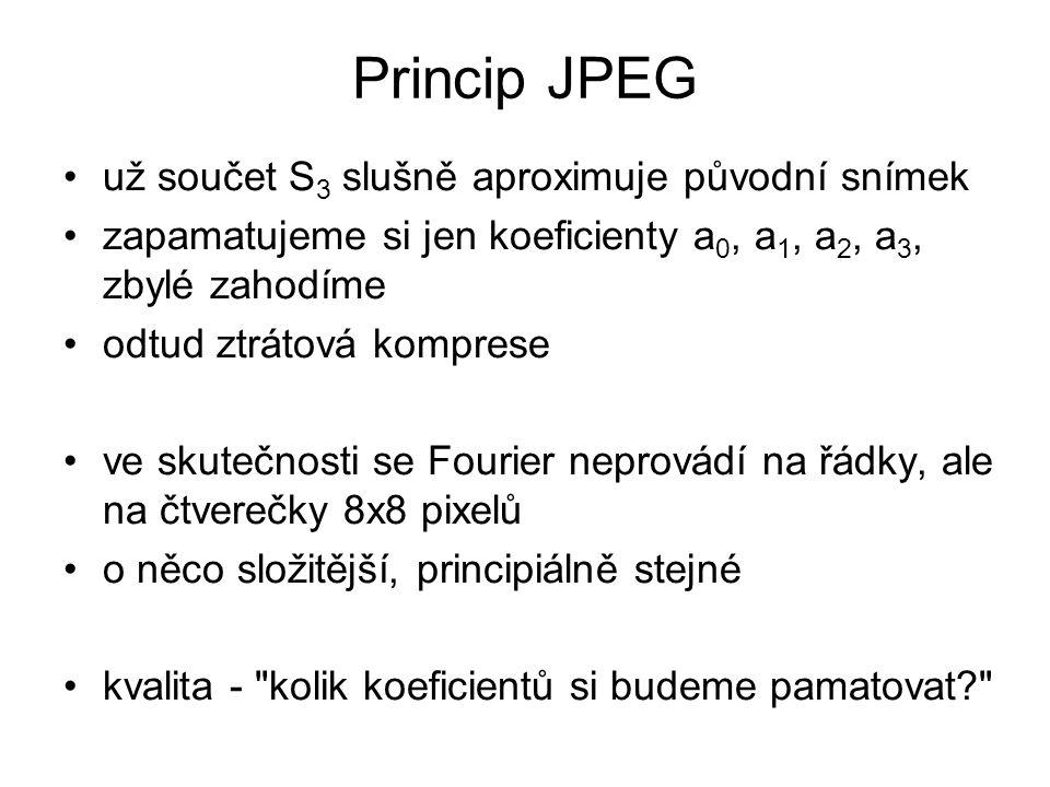 Princip JPEG už součet S3 slušně aproximuje původní snímek