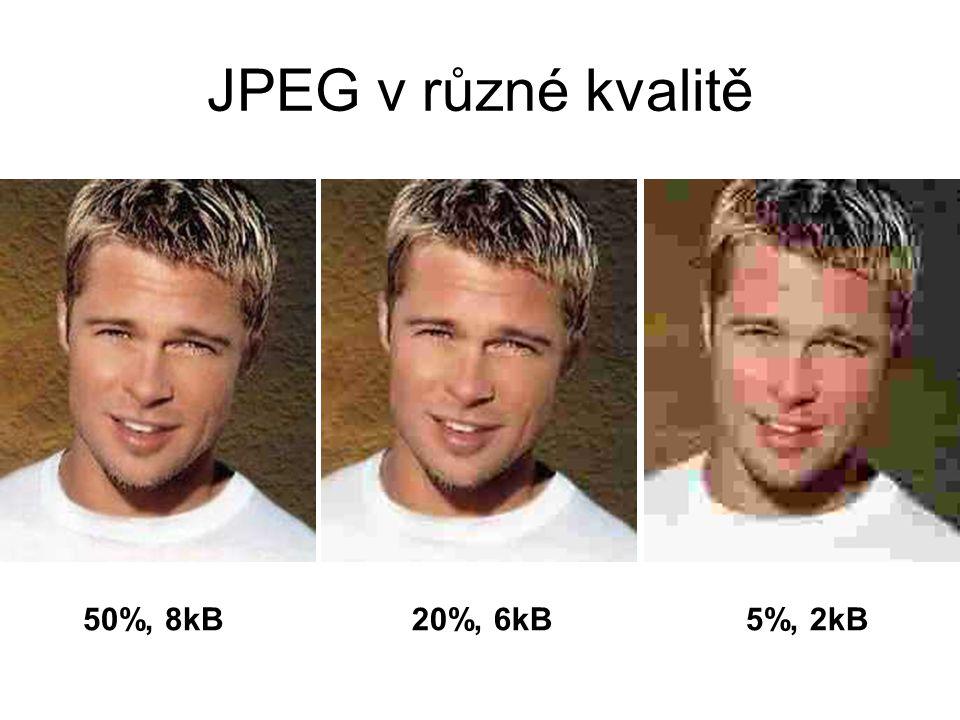 JPEG v různé kvalitě 50%, 8kB 20%, 6kB 5%, 2kB