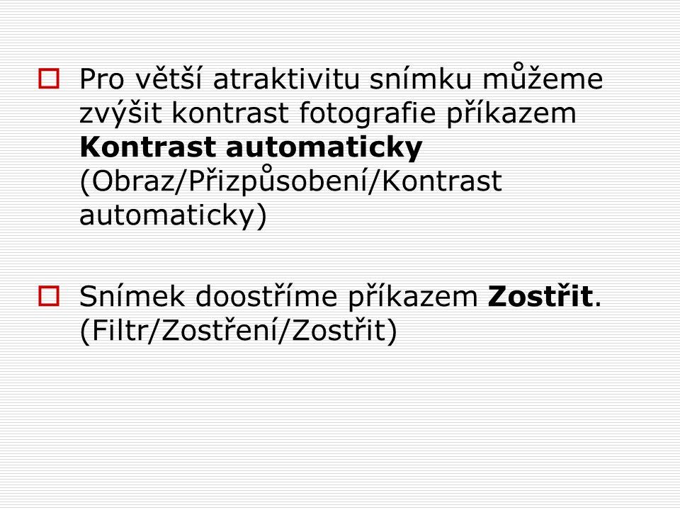 Pro větší atraktivitu snímku můžeme zvýšit kontrast fotografie příkazem Kontrast automaticky (Obraz/Přizpůsobení/Kontrast automaticky)