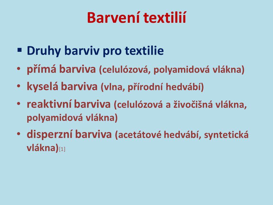 Barvení textilií Druhy barviv pro textilie