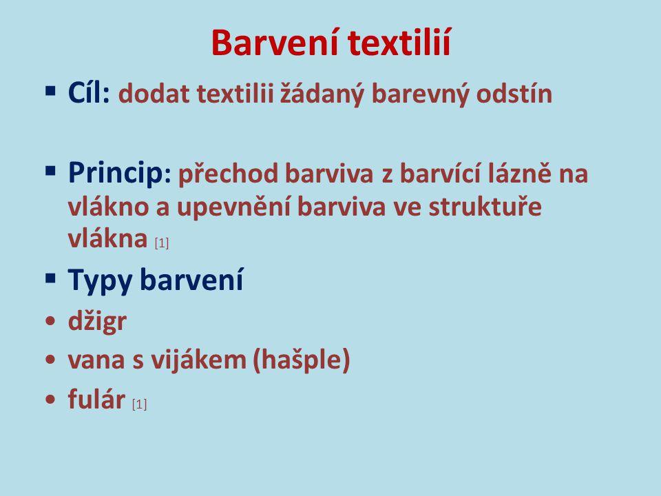 Barvení textilií Cíl: dodat textilii žádaný barevný odstín