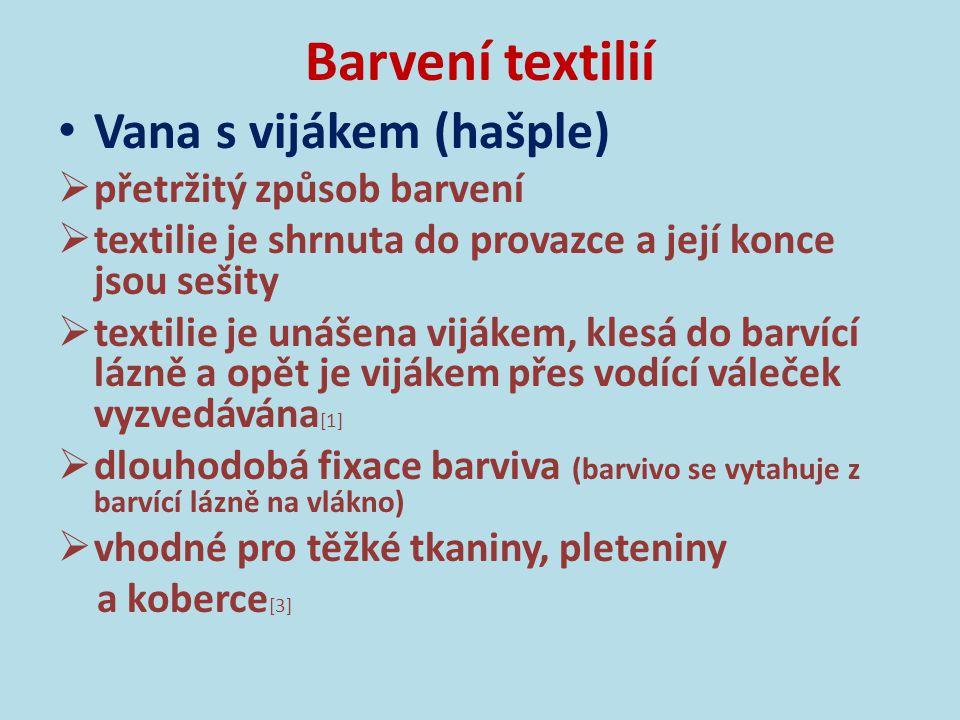 Barvení textilií Vana s vijákem (hašple) přetržitý způsob barvení