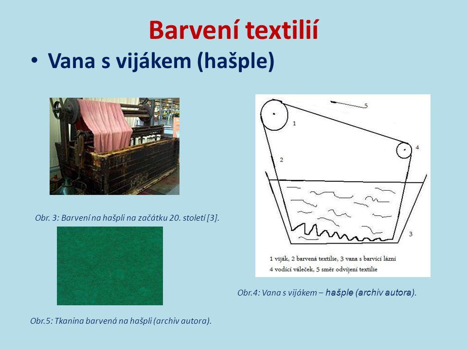 Barvení textilií Vana s vijákem (hašple)