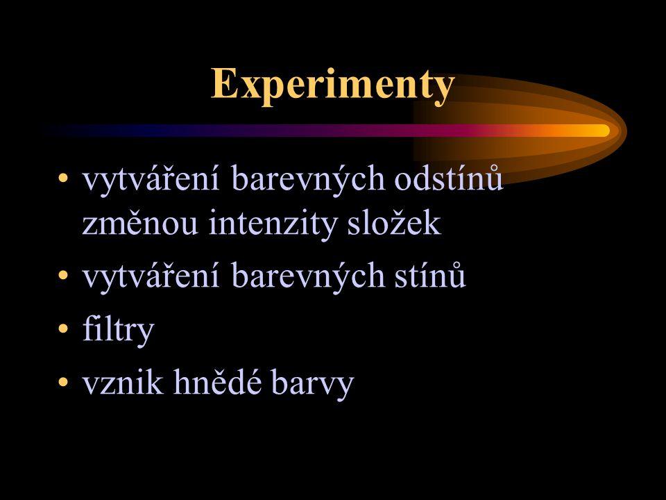 Experimenty vytváření barevných odstínů změnou intenzity složek