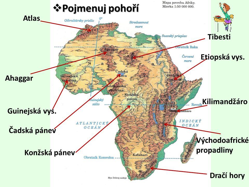 Pojmenuj pohoří Atlas Tibesti Etiopská vys. Ahaggar Kilimandžáro