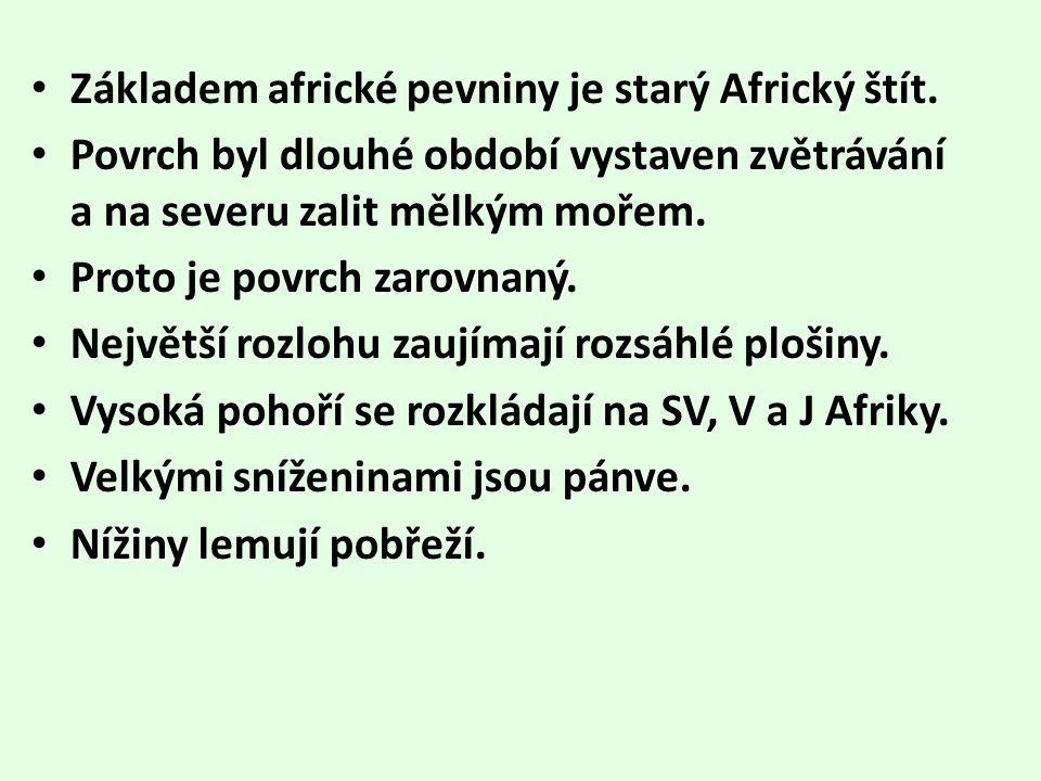 Základem africké pevniny je starý Africký štít.