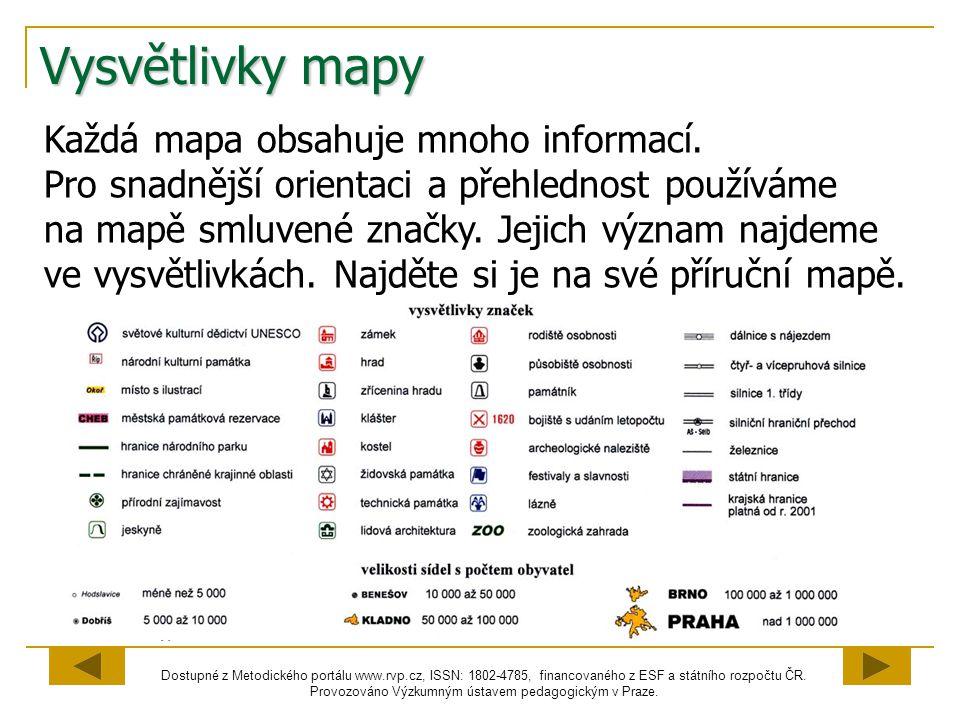 Vysvětlivky mapy