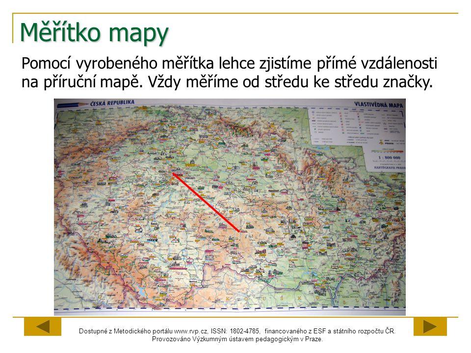 Měřítko mapy Pomocí vyrobeného měřítka lehce zjistíme přímé vzdálenosti na příruční mapě.