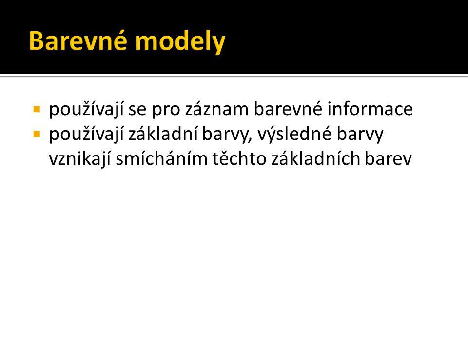Barevné modely používají se pro záznam barevné informace
