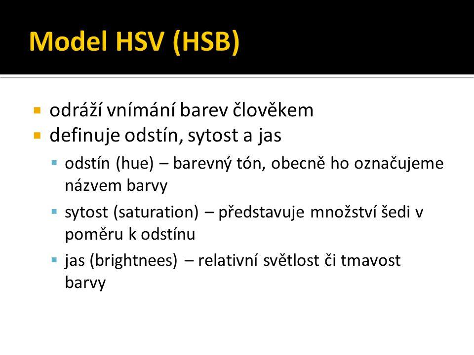 Model HSV (HSB) odráží vnímání barev člověkem