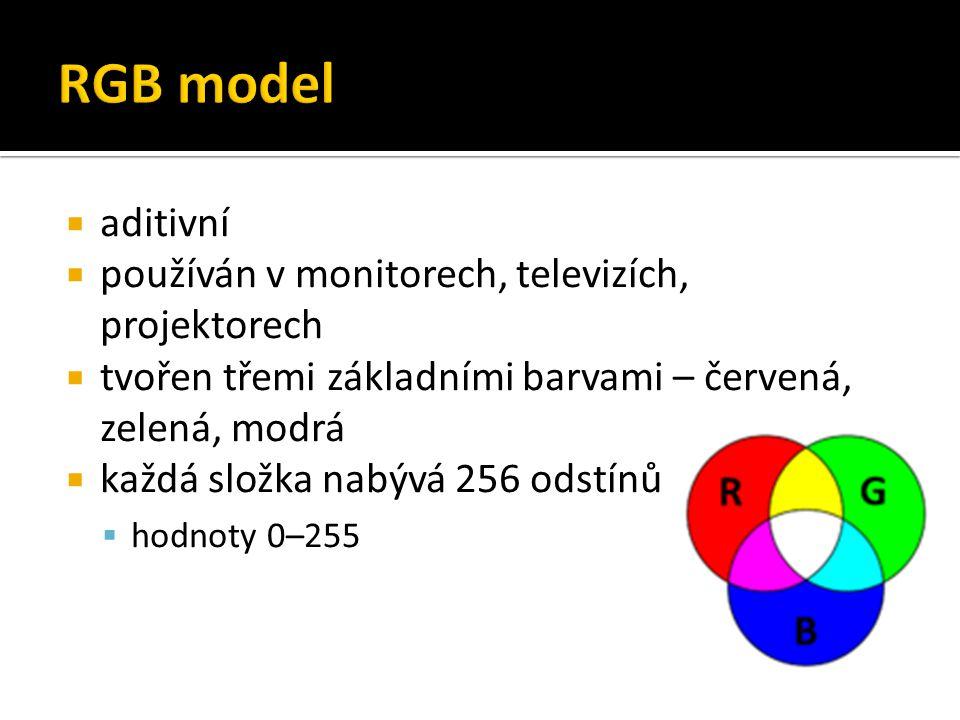 RGB model aditivní používán v monitorech, televizích, projektorech