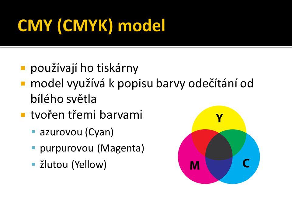 CMY (CMYK) model používají ho tiskárny