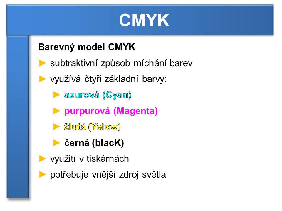 CMYK Barevný model CMYK subtraktivní způsob míchání barev
