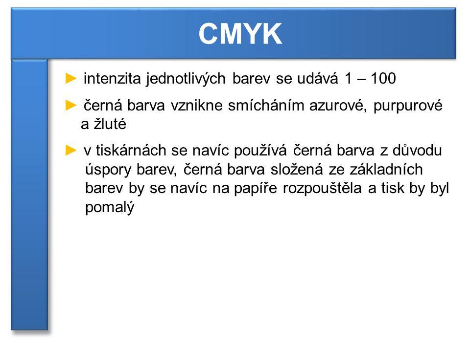 CMYK intenzita jednotlivých barev se udává 1 – 100