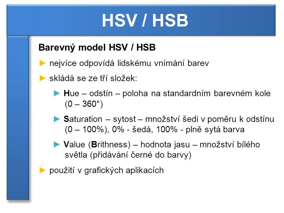 HSV / HSB Barevný model HSV / HSB